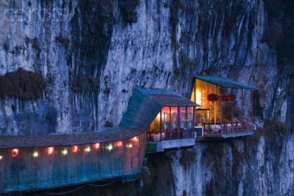 China, Hubei Province, Yichang, Hanging Restaurant by 3 Travelers Cave Park near Yangtze River