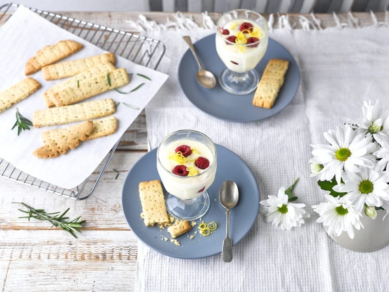 Easy summer desserts: lemon and raspbery posset with rosemary shortbread