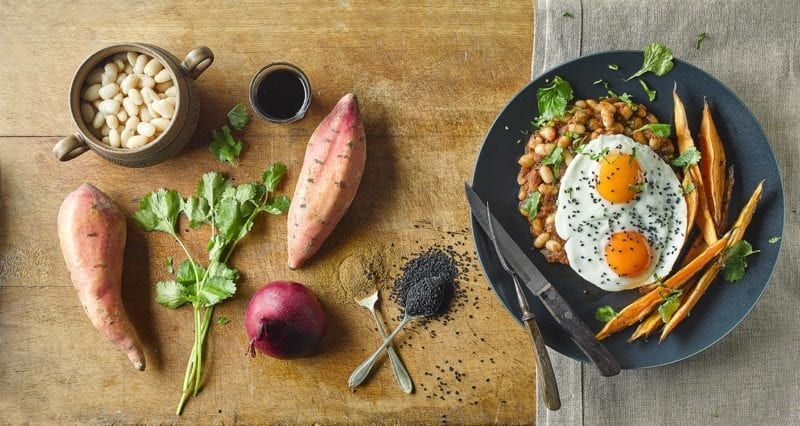 nigella seed recipes: indian sweet potato chips and beans