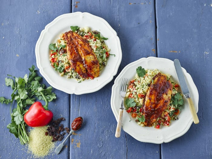 Harissa Fish On Red Pepper Couscous recipe