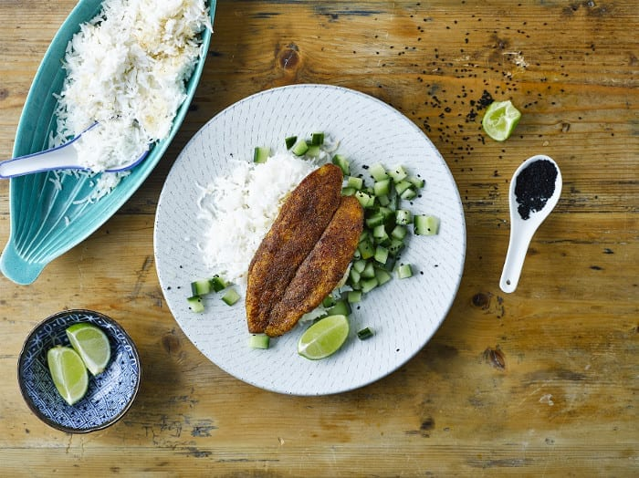 Curried Fish With Coconut Lime Rice