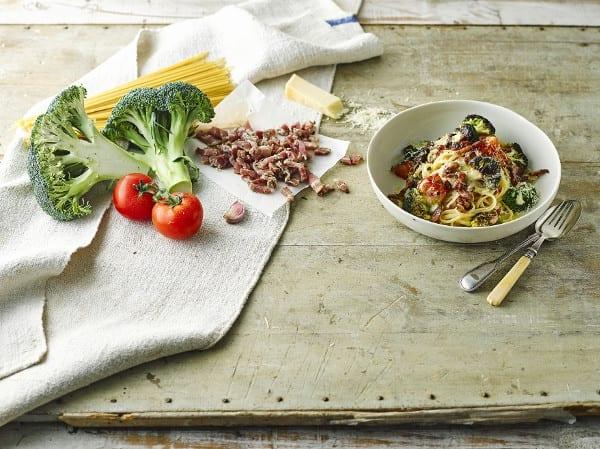 Pancetta Alfredo Linguine With Broccoli