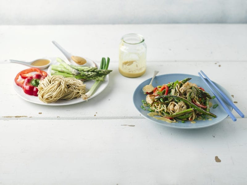 Miso-Butter Asparagus & Chicken Noodles