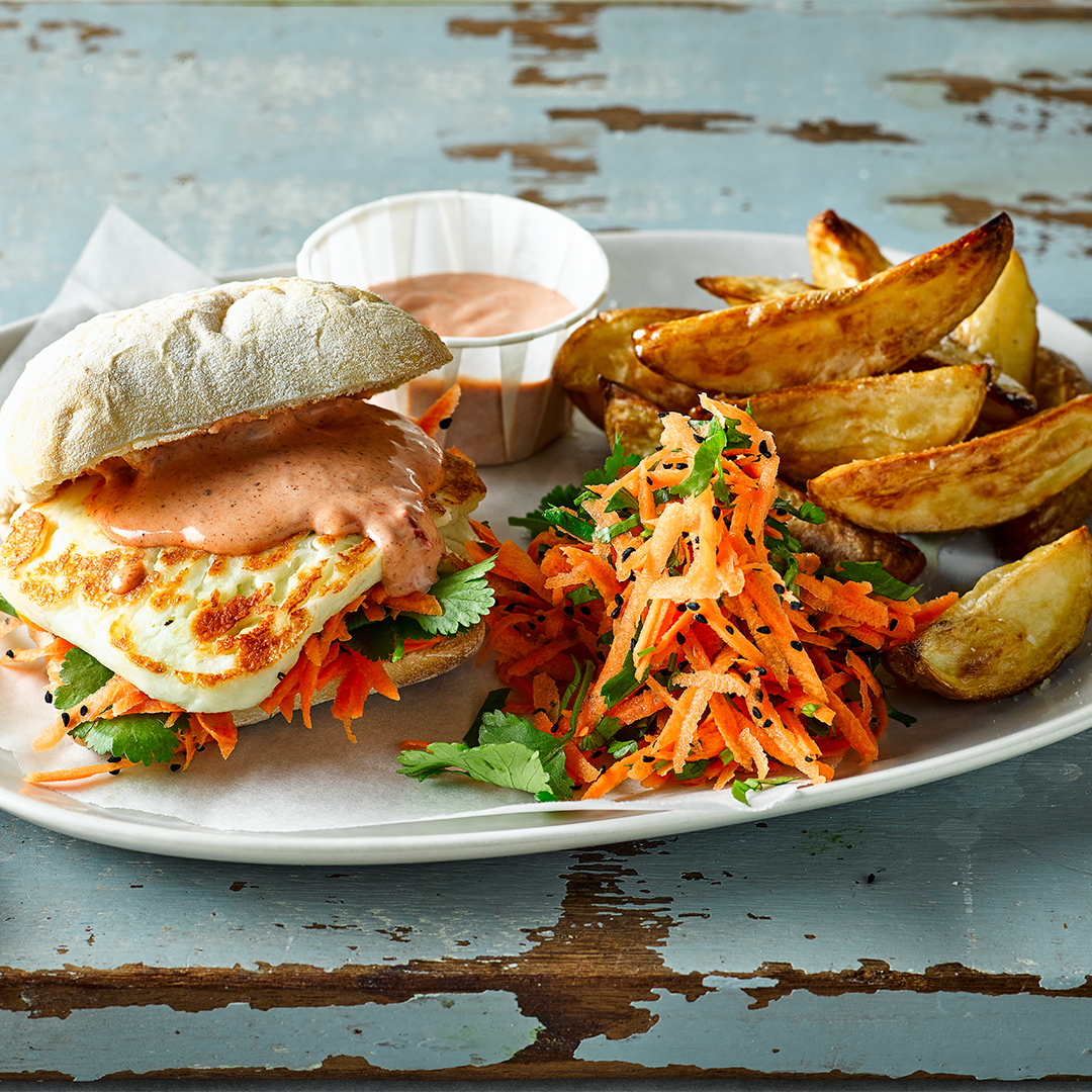Harissa Halloumi Sandwich & Carrot Slaw