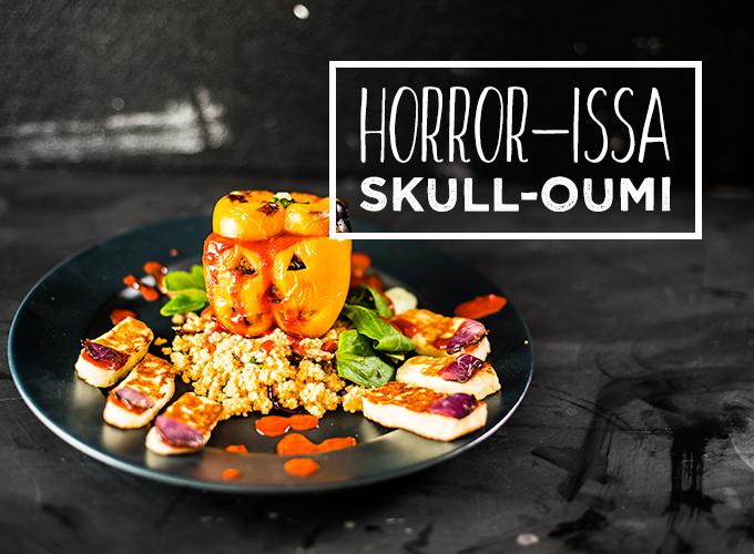 Golden Harissa-Dressed Halloumi Salad Halloween Recipe