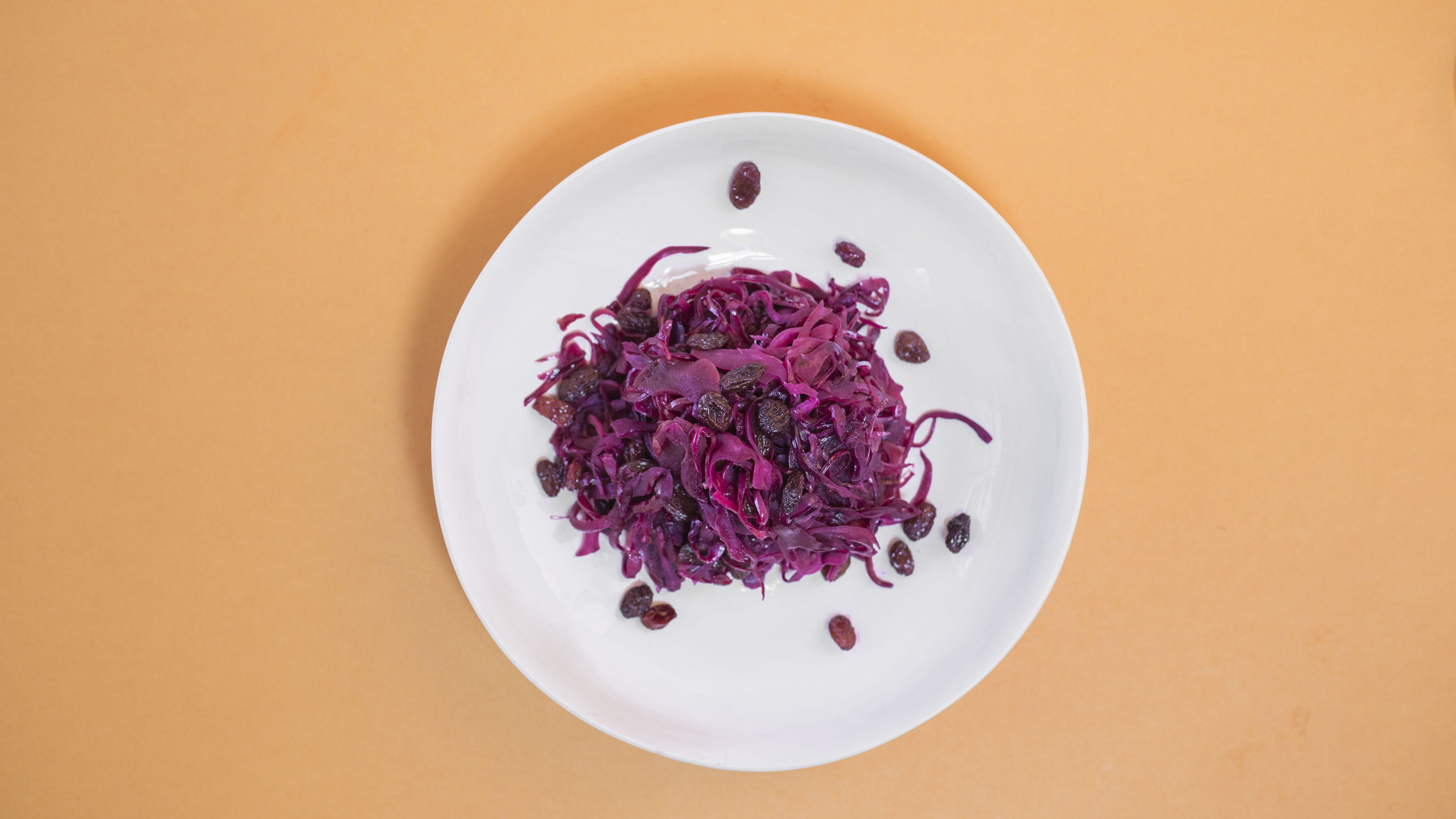 Braised Red Cabbage, Apples, Balsamic and Sultanas recipe