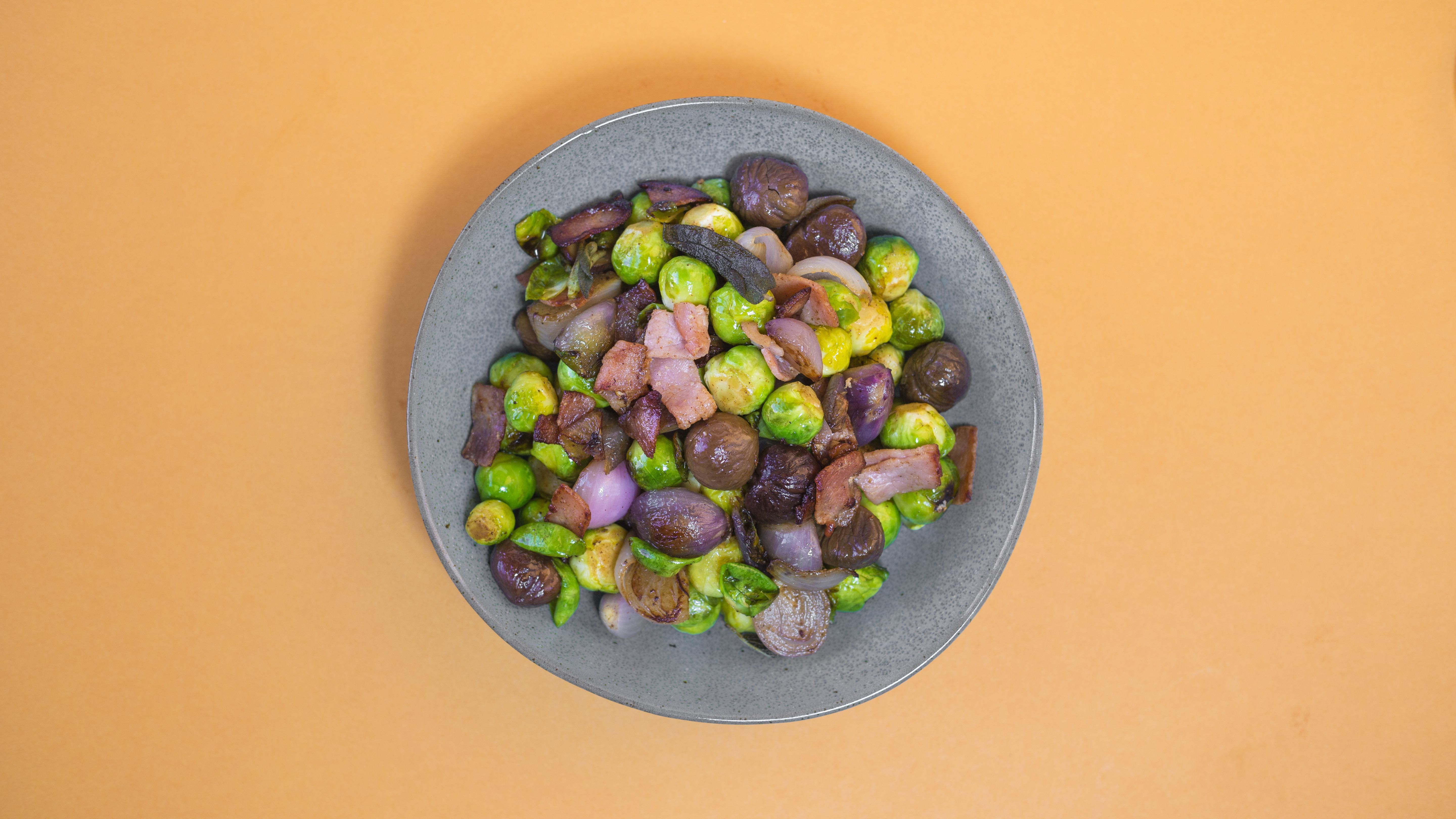 Sprouts, Shallots, Chestnuts and Bacon recipe