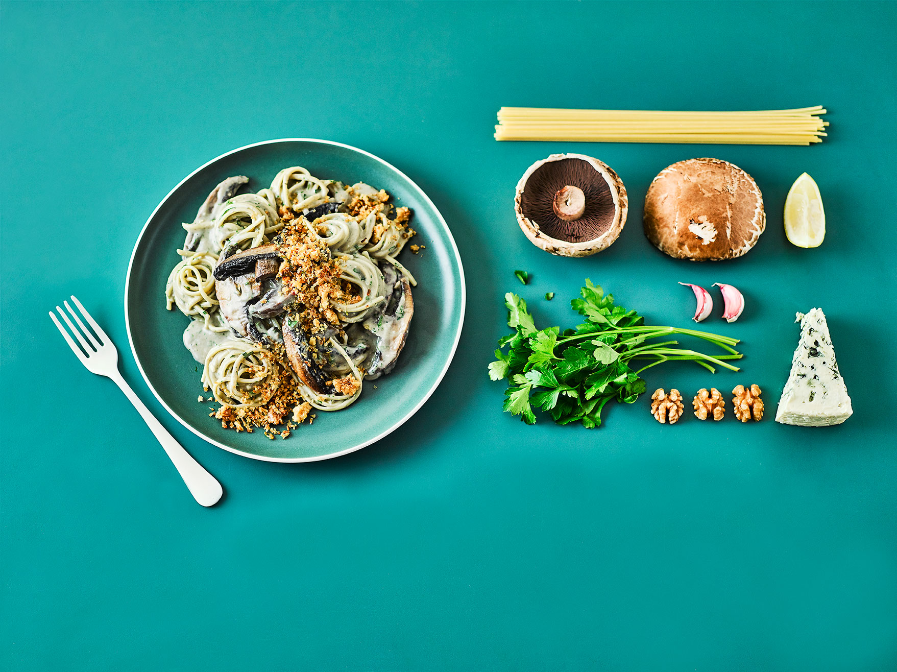Blue Cheese and Mushroom Linguine Comfort Food