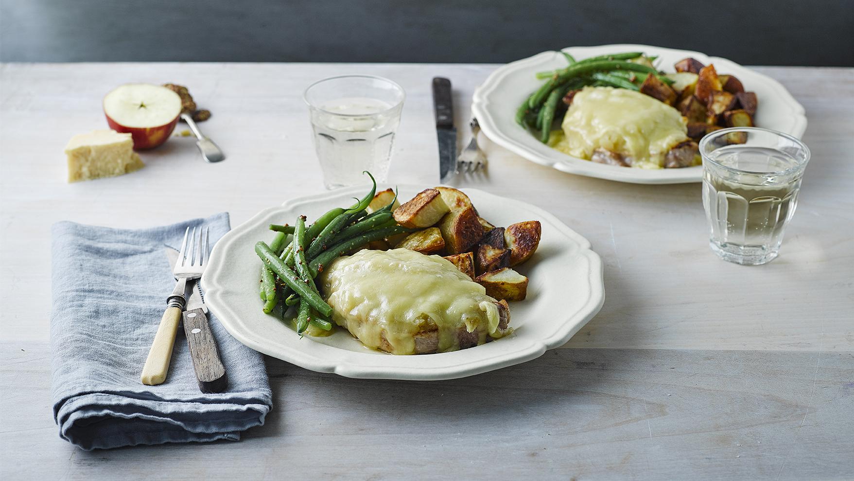 Pork Steaks With Apple Sauce & Cheese Recipe