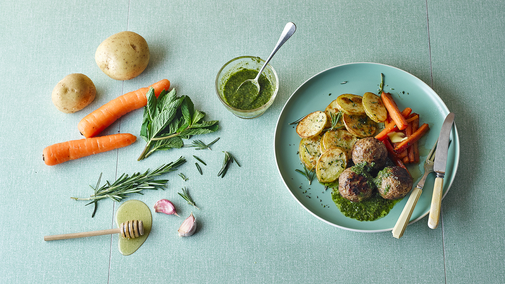 Rosemary Lamb Meatballs With Mint Sauce