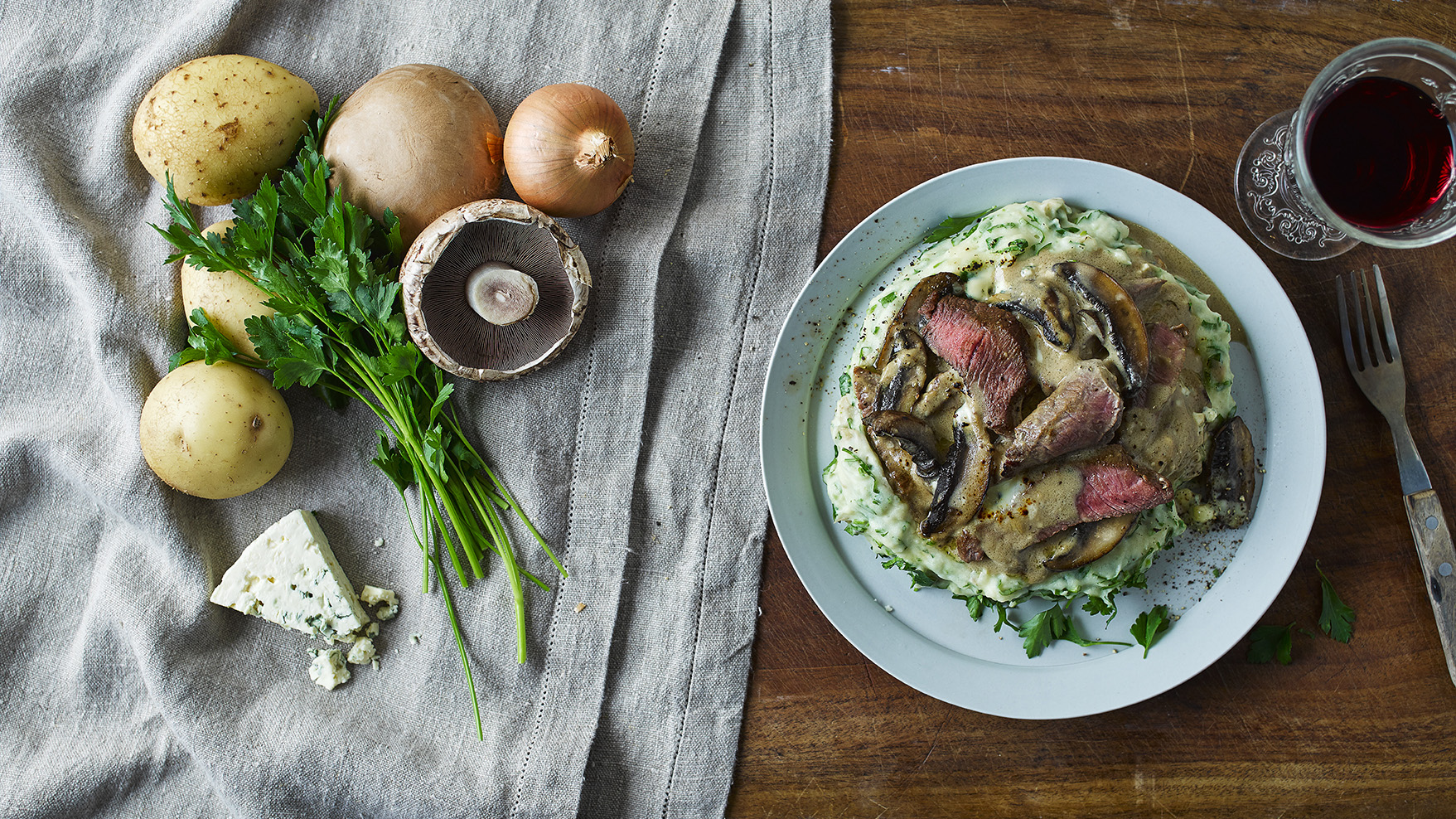 Melty Mushrooms With Steak & Blue Cheese Recipe