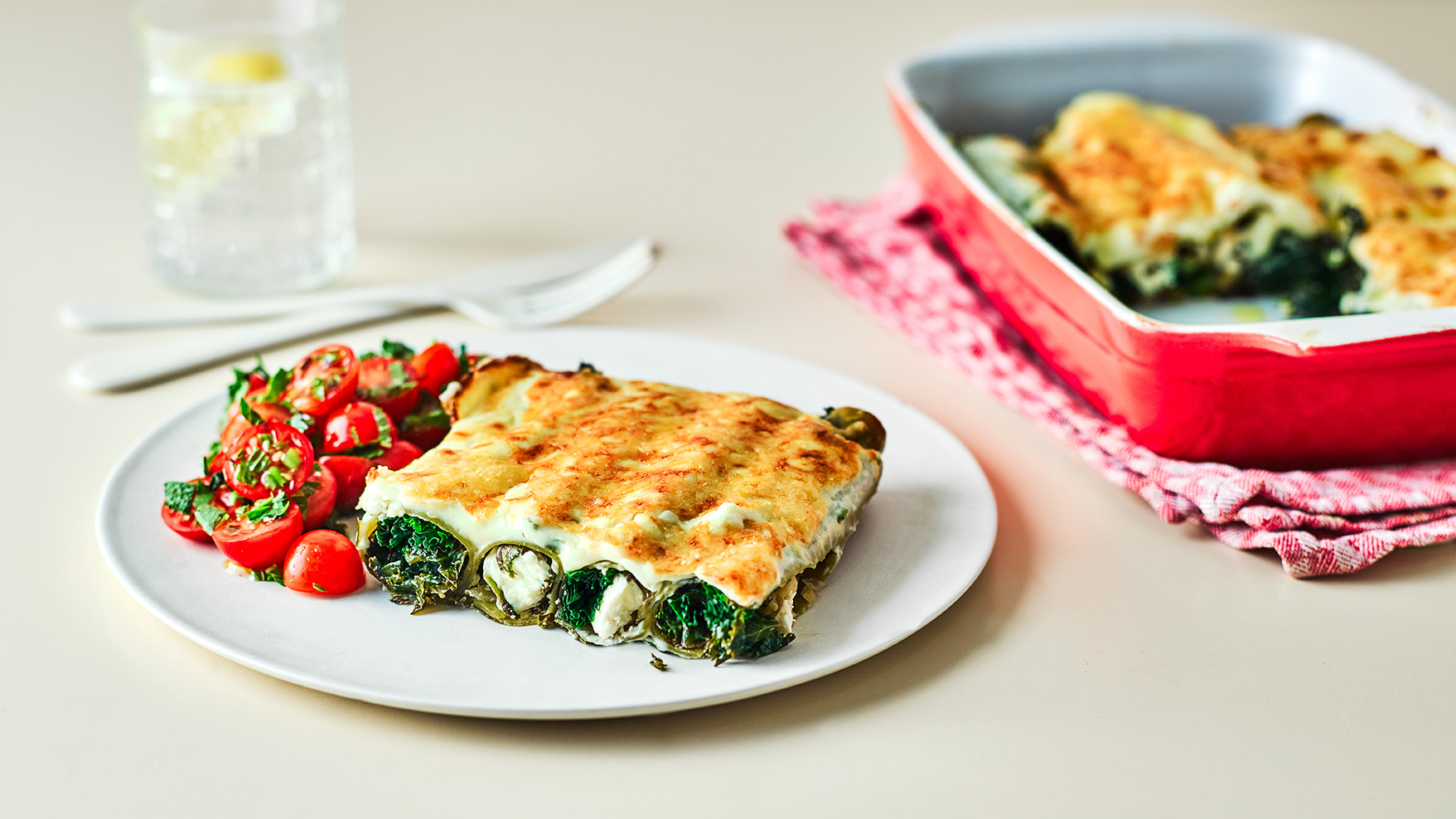 feta and cale canneloni bechemel white sauce