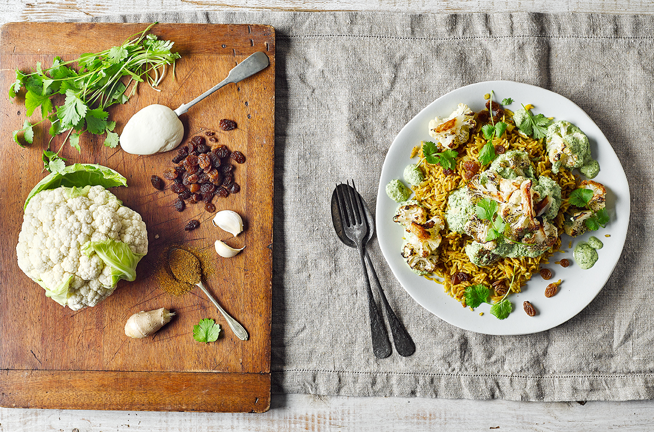 Herby Roast Cauli With Spiced Rice Recipe