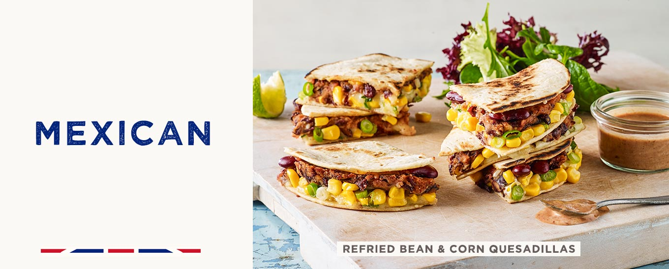 Refried Bean & Corn Quesadillas