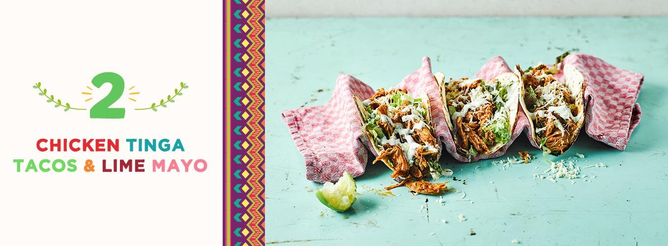 Chicken Tinga Tacos & Lime Mayo recipe