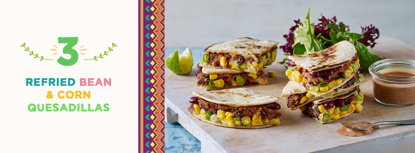 Refried Bean & Corn Quesadillas recipe
