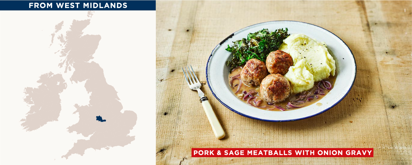 pork & sgae meatballs with onion gravy