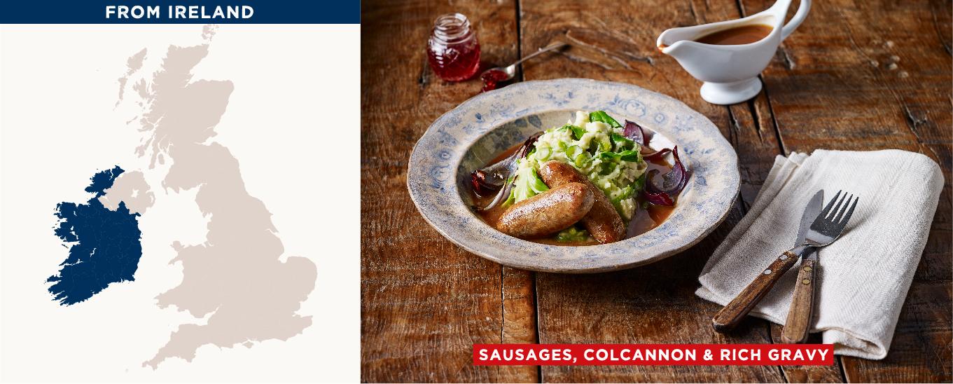sausages, colcannon & rich gravy