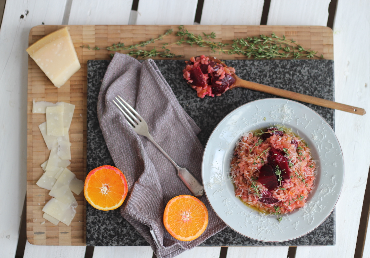 Fresh and Citrusy Liquorice, Beetroot and Orange Risotto