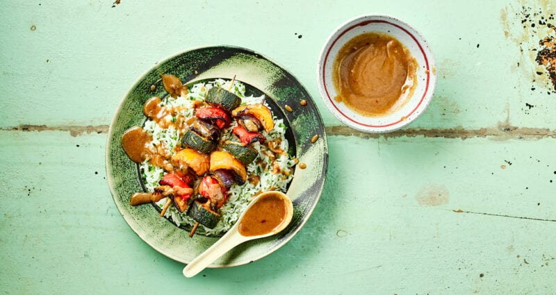 Roast Vegetables Skewers with Satay Sauce Recipe